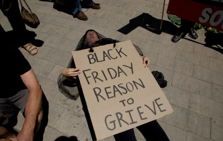 Youth climate activists staged protests on Black Friday