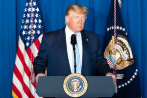 President Donald J. Trump delivers remarks during a press conference Friday, Jan. 3, 2020, at Mar-a-Lago in Palm Beach, Fla., following the U.S. airstrike in Iraq that resulted in the death of Iranian commander Qassim Soleimani. (Official White House Photo by Shealah Craighead)